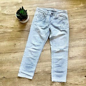 American Eagle Blue/White Striped Distressed Denim